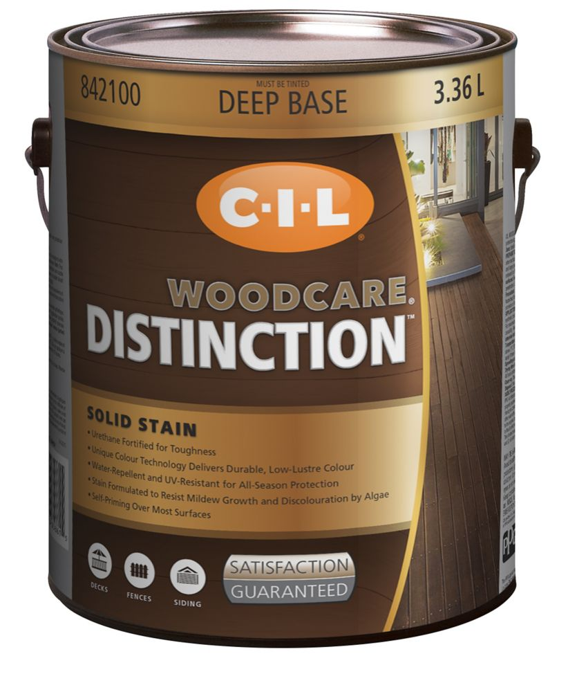 CIL Woodcare Distinction Solid Stain, Deep Base, 3.36 L