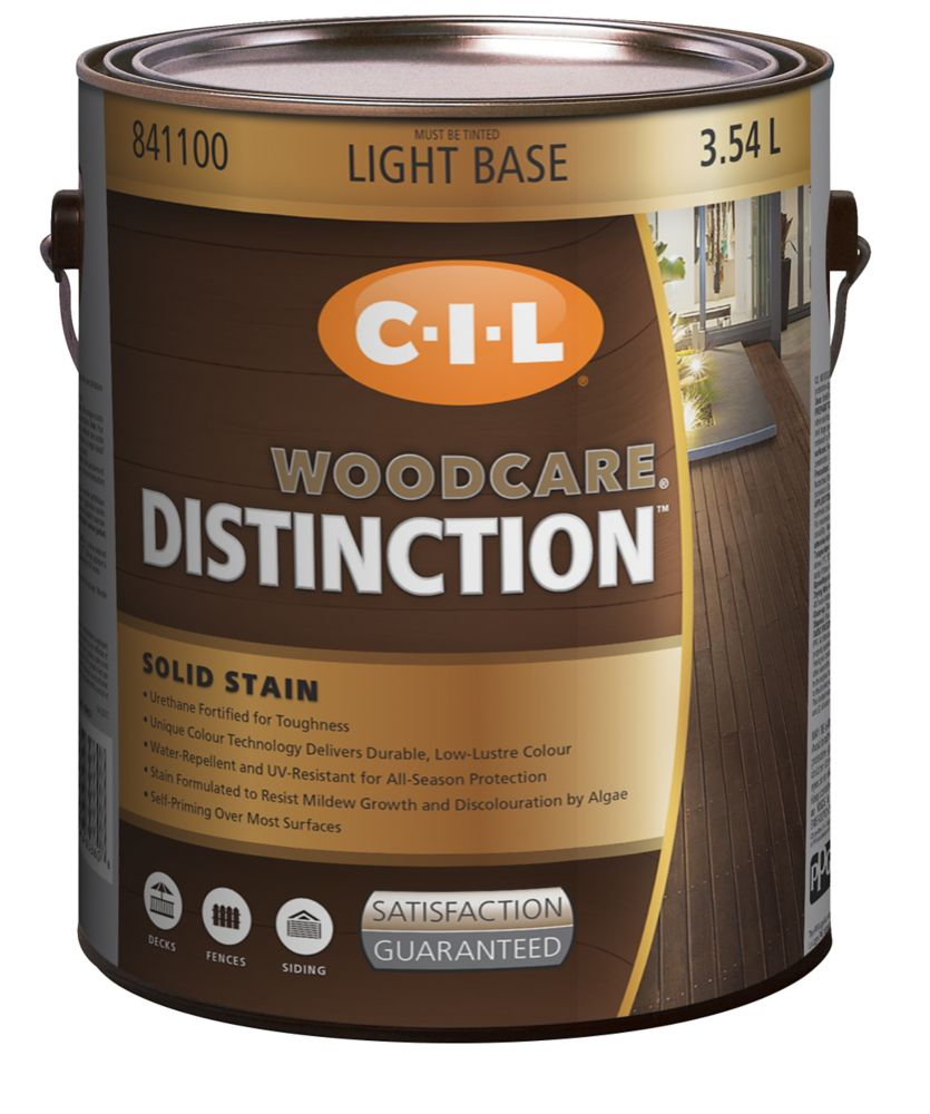 CIL Woodcare Distinction Solid Stain, Light Base, 3.54 L