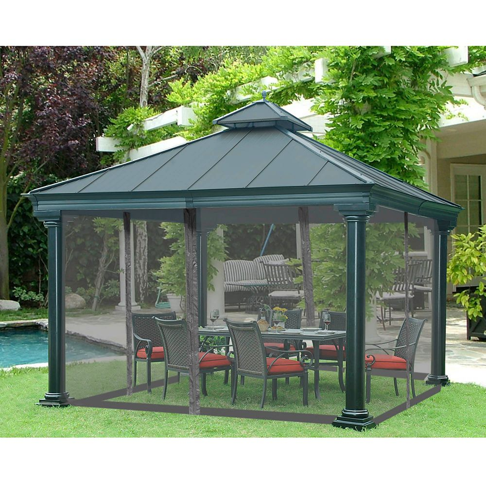 sunjoy universal broadway 12 ft x 12 ft gazebo mosquito netting the home depot canada. Black Bedroom Furniture Sets. Home Design Ideas
