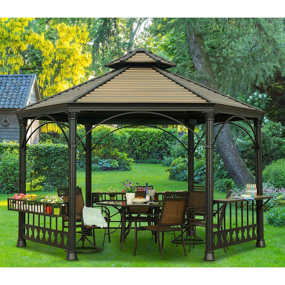 Sunjoy Holden Hexagonal Hard Top Gazebo with Vented Canopy ...