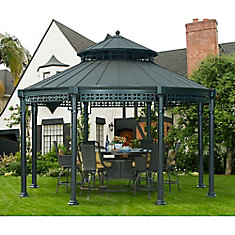 Ontario 14 ft. Dia Round Gazebo with Vented Canopy in Black