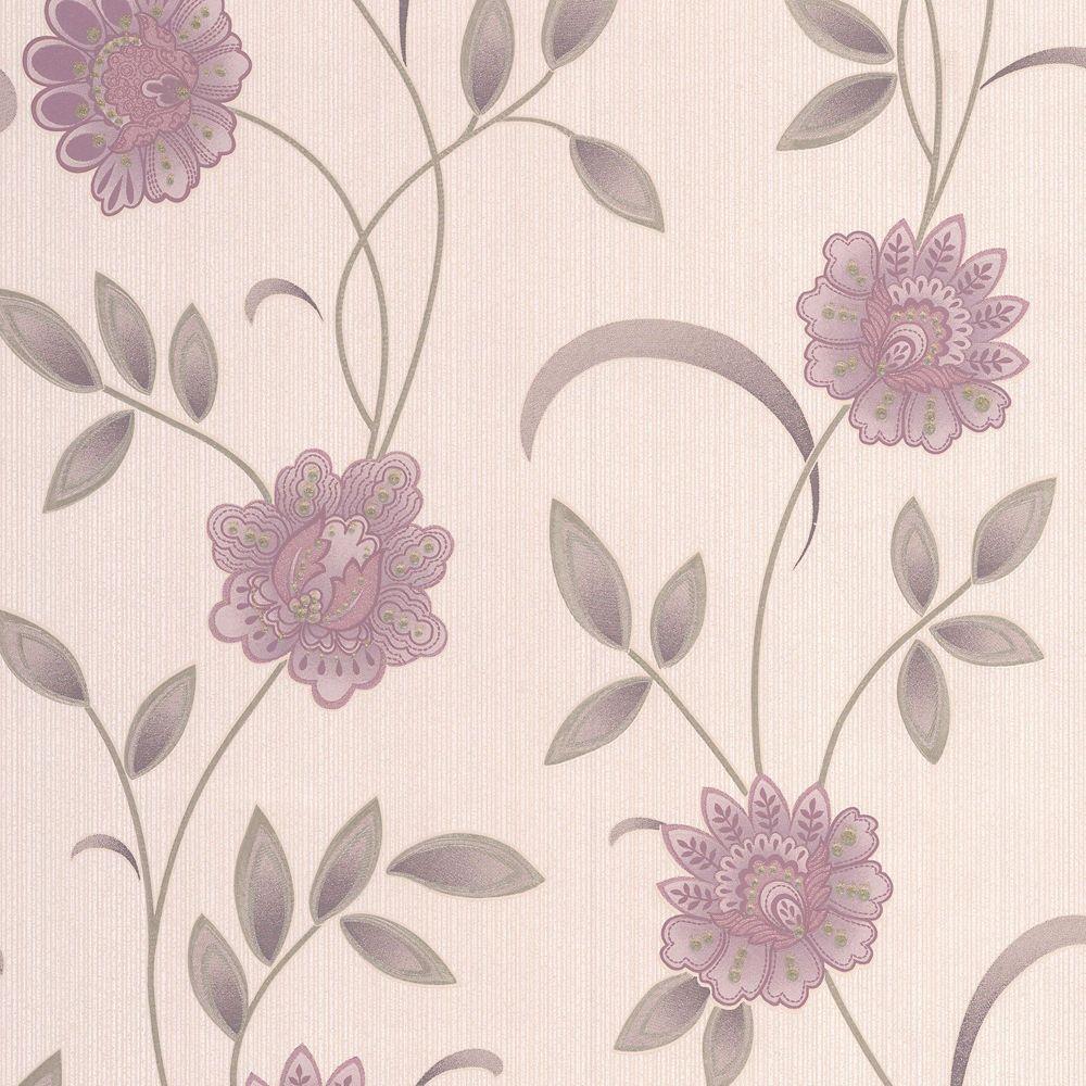 Sadie Lavender/Pink/Cream Wallpaper