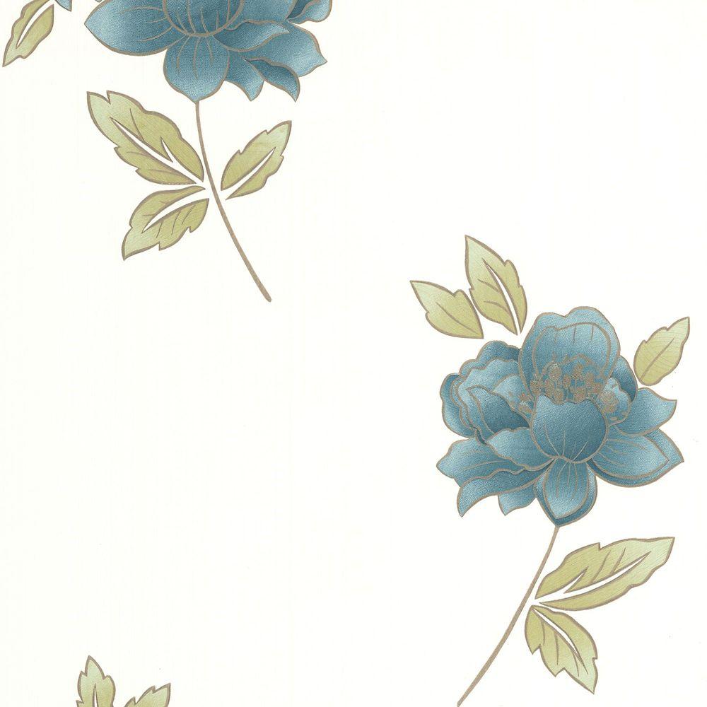 Lulu Teal/Green/Cream Wallpaper
