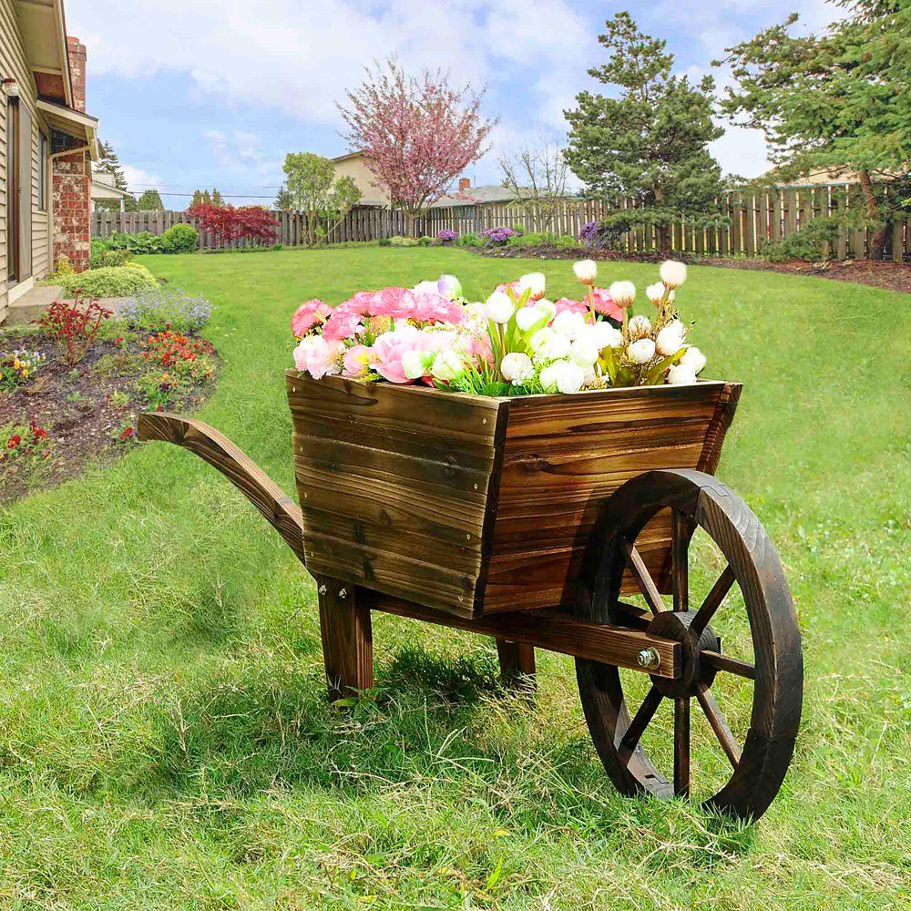 Sunjoy Bea Wooden Flower Cart