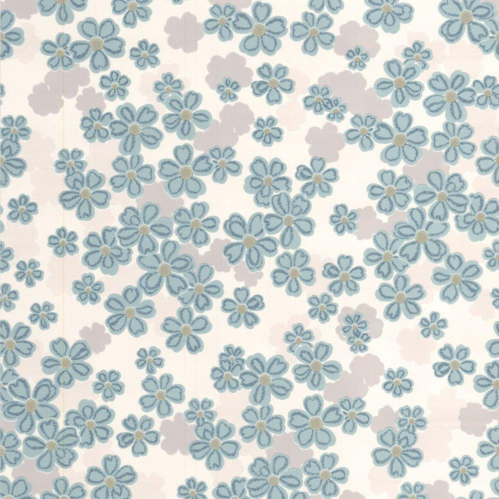Woodstock Teal/Blue/Gray/Cream Wallpaper