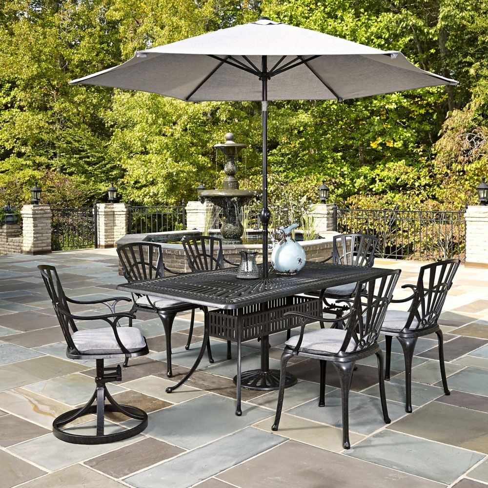vestri rectangular en bay hampton patio table steel maple in piece set with valley p home dining