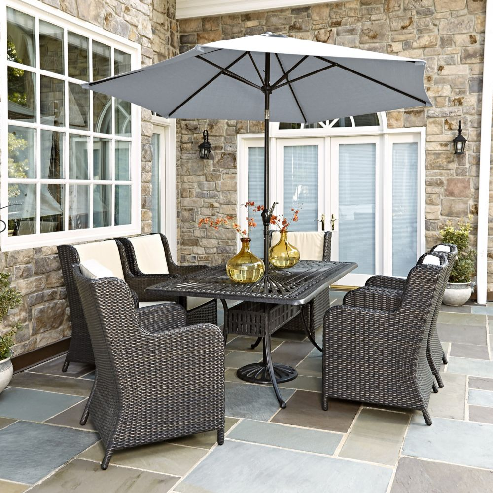 govenor jensen weather dining patio all outdoor set sacramento wicker aluminum alpha leisure furniture