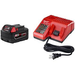 Milwaukee Tool M18 18V Lithium-Ion Extended Capacity (XC) 5.0 Ah REDLITHIUM Battery and Charger Starter Kit