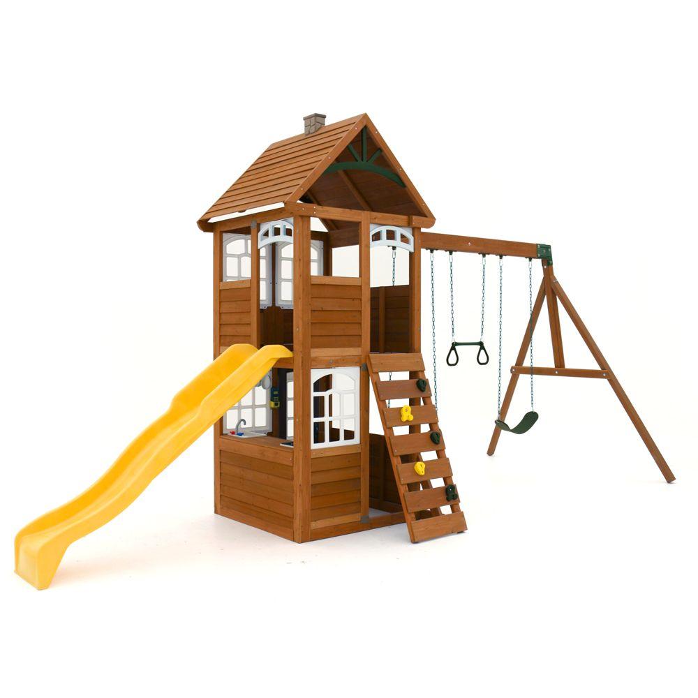 Cedar Summit Willowbrook Wooden Playset The Home Depot