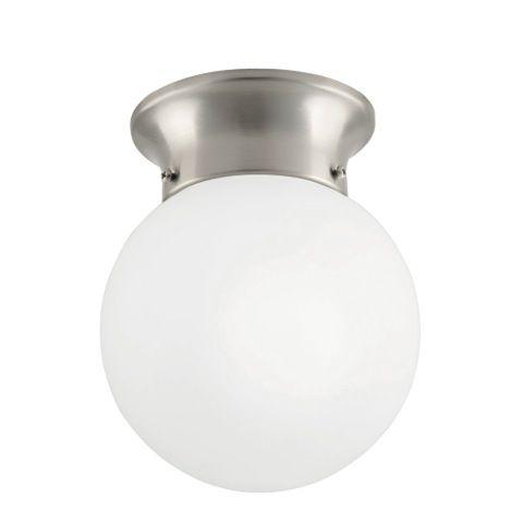 Commercial Electric 1-Light Globe Brushed Nickel LED Flushmount - ENERGY STAR®