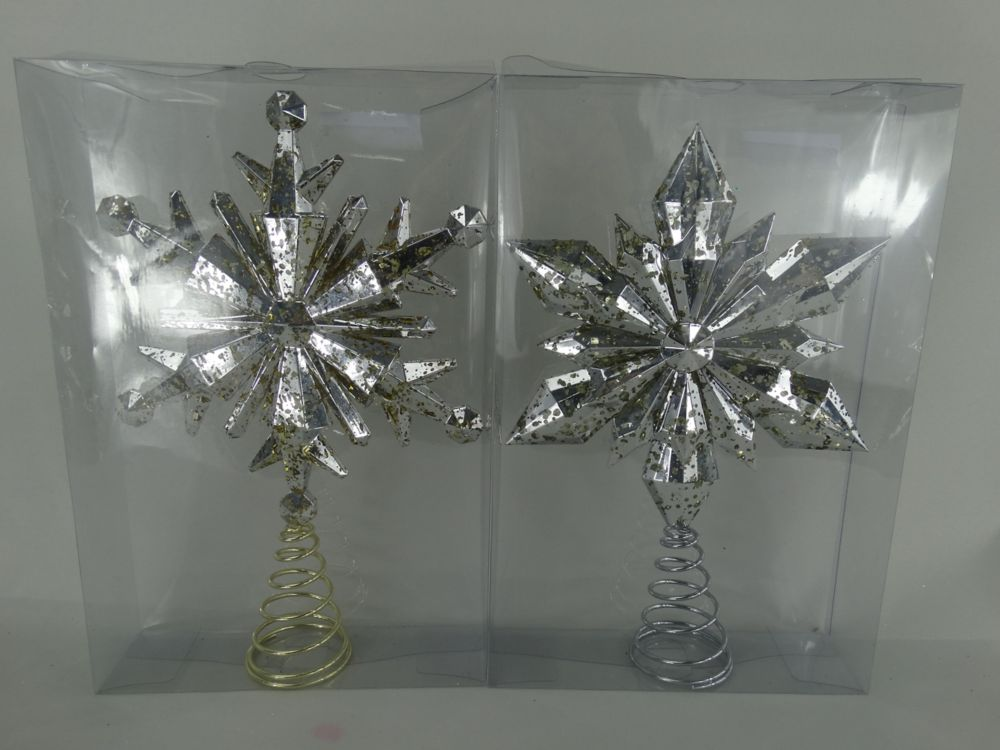 13 Inch Xmas Snowflake Tree Topper Mercury Assortment-Gold And Silver