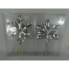 13 -inch Xmas Snowflake Tree Topper Mercury Assortment-Gold and Silver (Price Per Item)