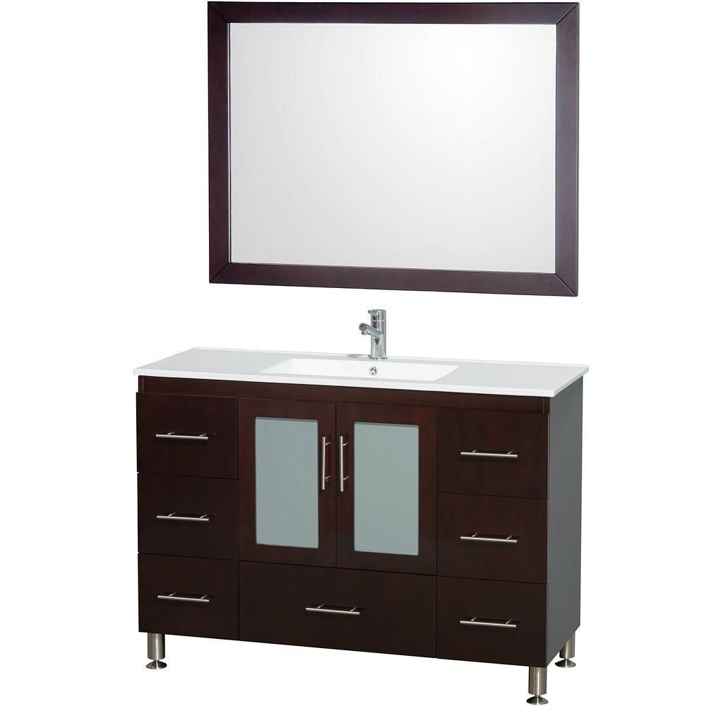 Wyndham collection katy 48 po meuble simple espresso for Meuble en miroir