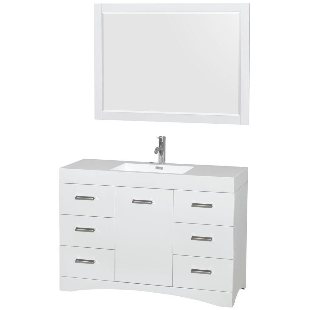 Delray 48-inch W Vanity in Glossy White with Acrylic-Resin Top and 46-inch Mirror