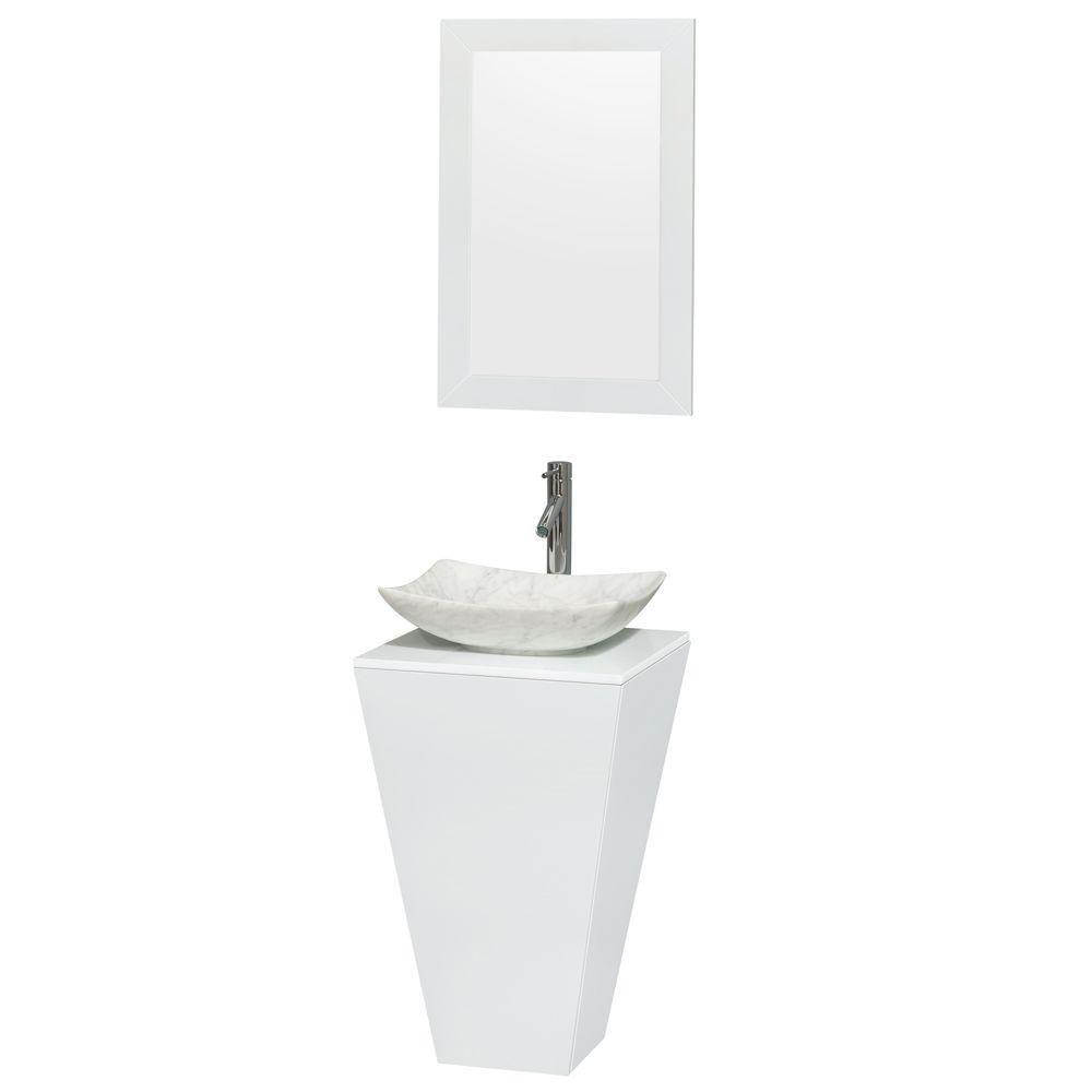 Meuble simple Esprit blanc brillant, comptoir blanc, lavabo blanc Carrare, miroir 20 po