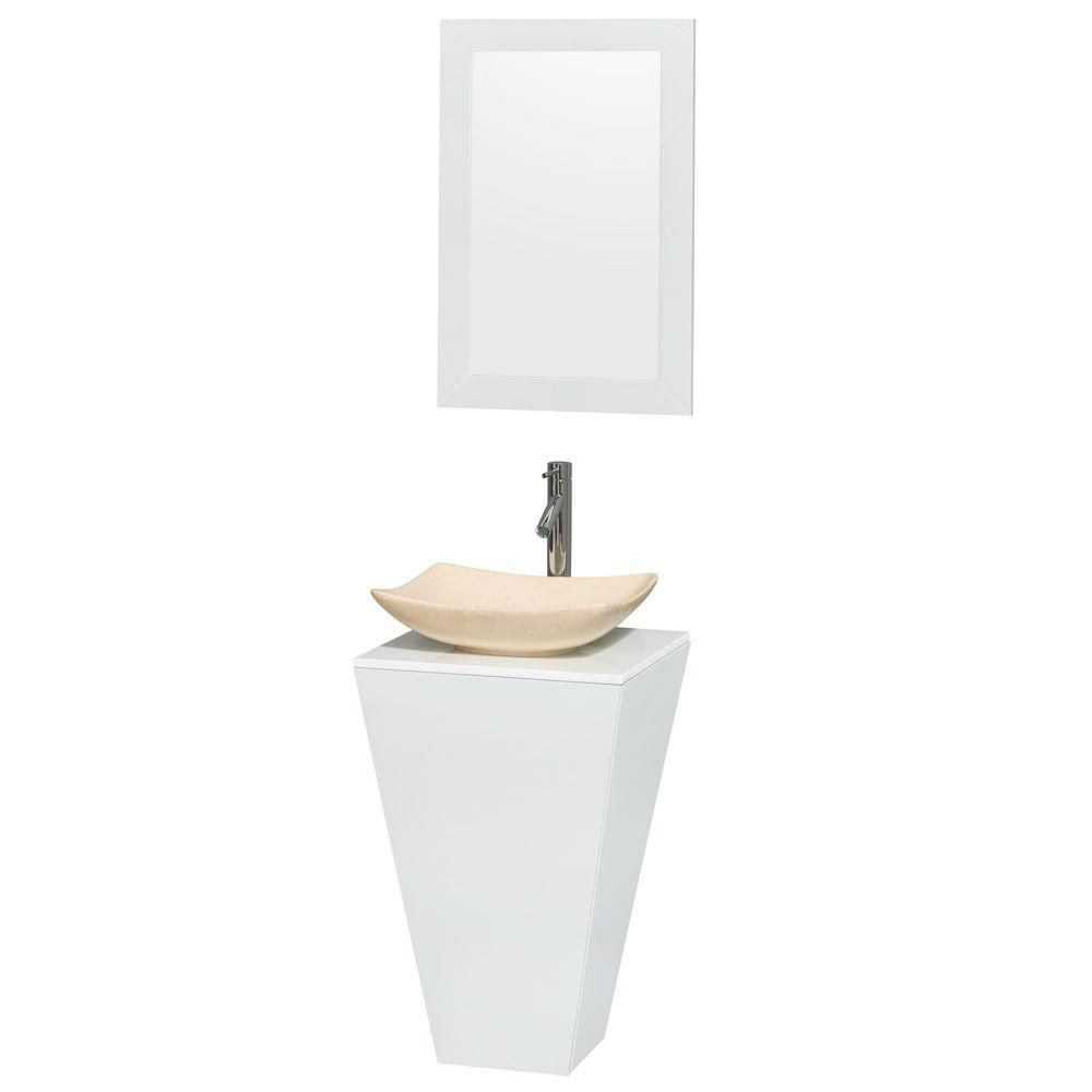 Esprit Pedestal Vanity in Glossy White with Solid Top, Marble Sink and 20-inch Mirror