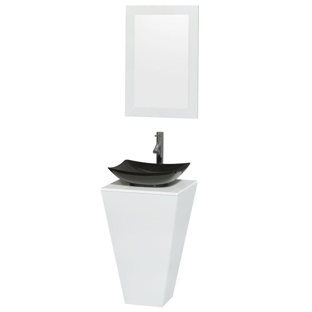 Esprit Pedestal Vanity in Glossy White with Solid Top, Granite Sink and 20-inch Mirror