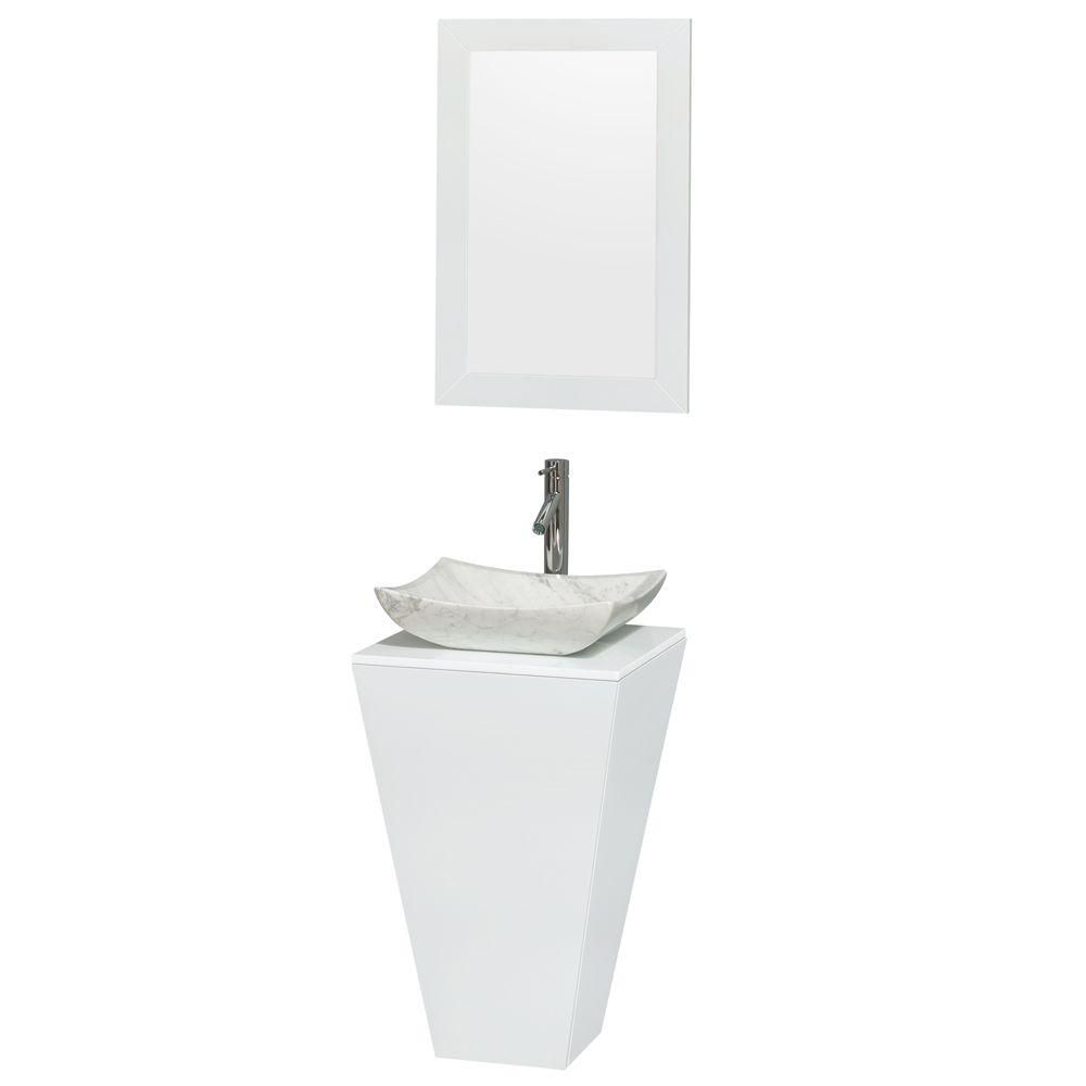 Esprit Pedestal Vanity in Glossy White with Solid Top and 20-inch Mirror