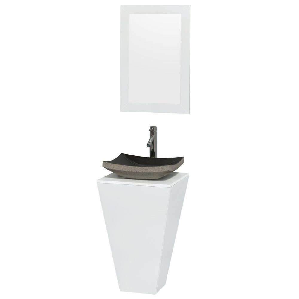 Meuble simple Esprit blanc brillant, comptoir blanc, lavabo en granit noir, miroir 20 po