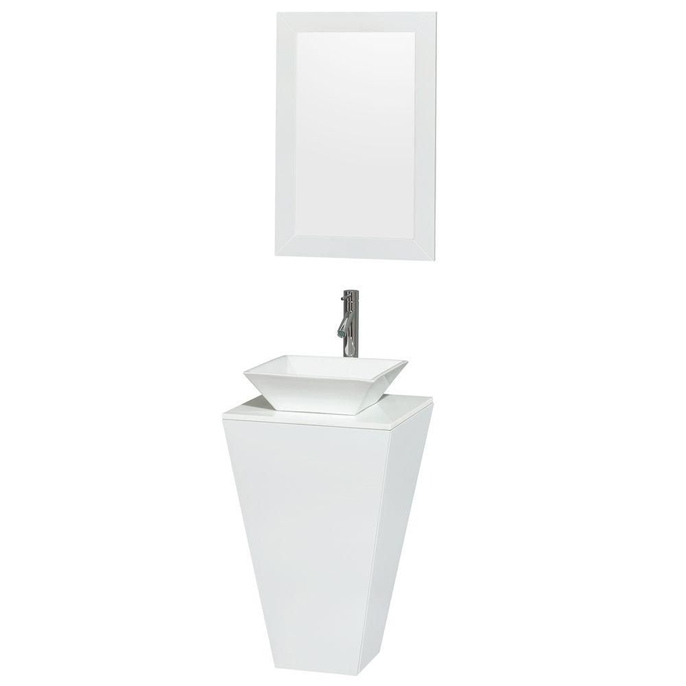 Esprit Pedestal Vanity in Glossy White with Solid Top, Porcelain Sink and 20-inch Mirror