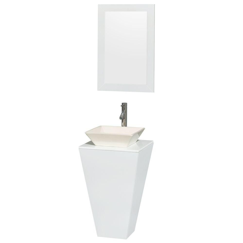 Meuble simple Esprit blanc brillant, comptoir blanc, lavabo porcelaine bone, miroir