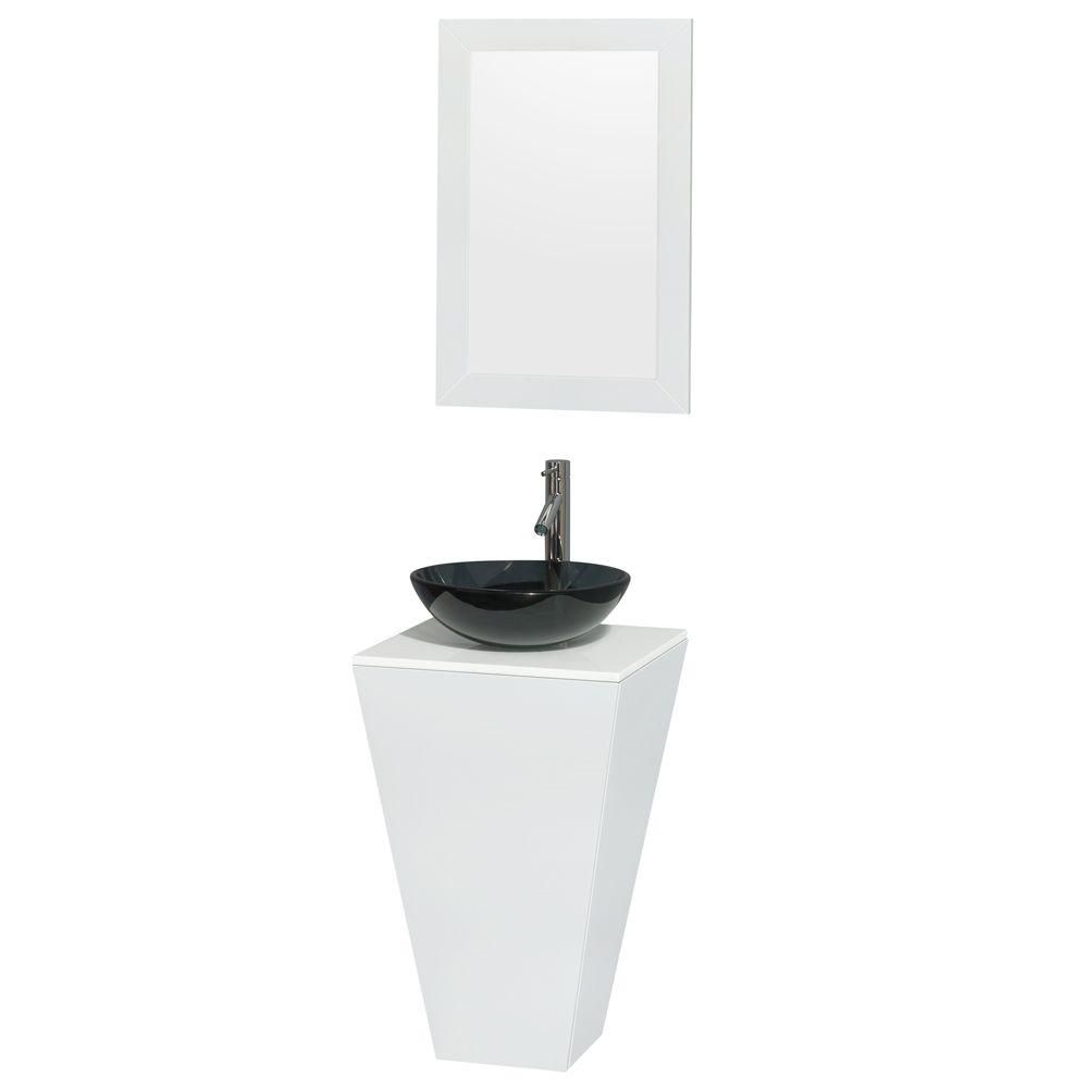 Esprit Pedestal Vanity in Glossy White with Solid Top, Glass Sink and 20-inch Mirror