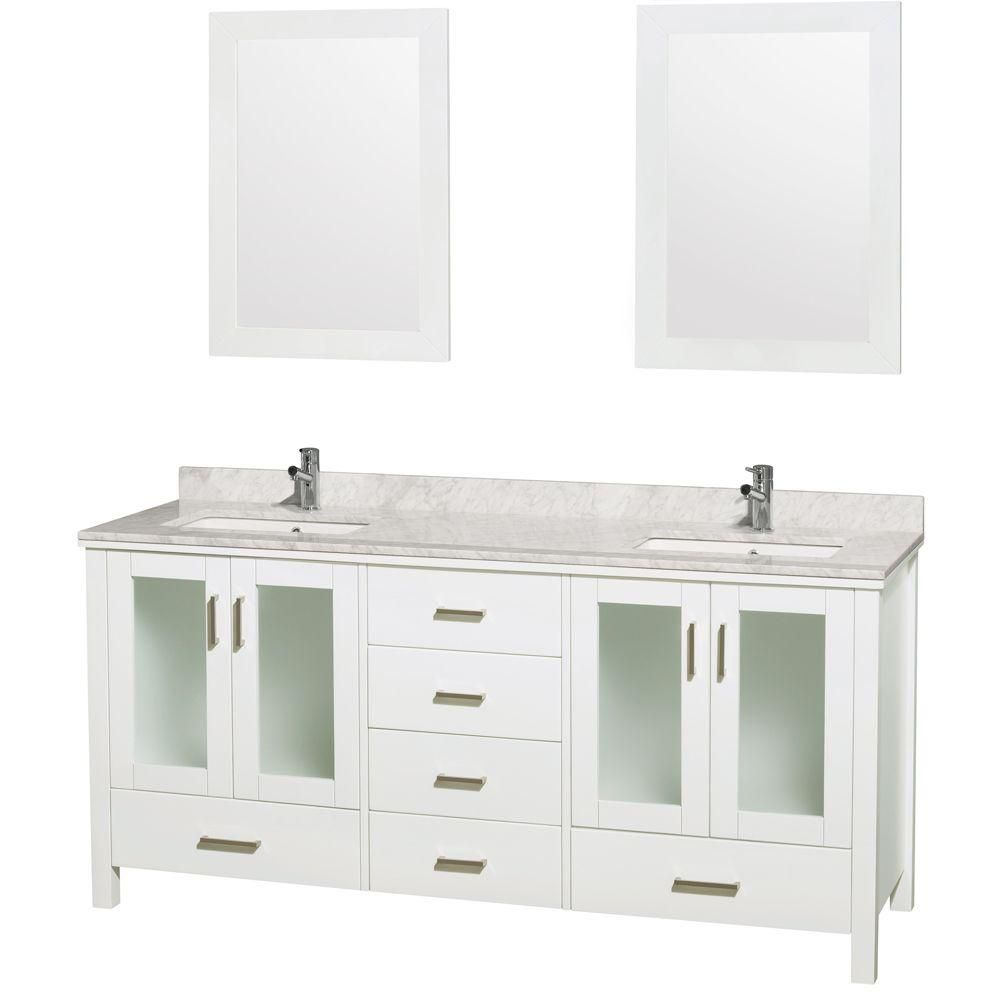 Wyndham Collection Lucy 72-inch W 6-Drawer 4-Door Vanity in White With Marble Top in White, Double Basins With Mirror