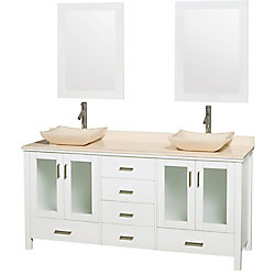 Wyndham Collection Lucy 72-inch W 6-Drawer 4-Door Vanity in White With Marble Top in Beige Tan, Double Basins