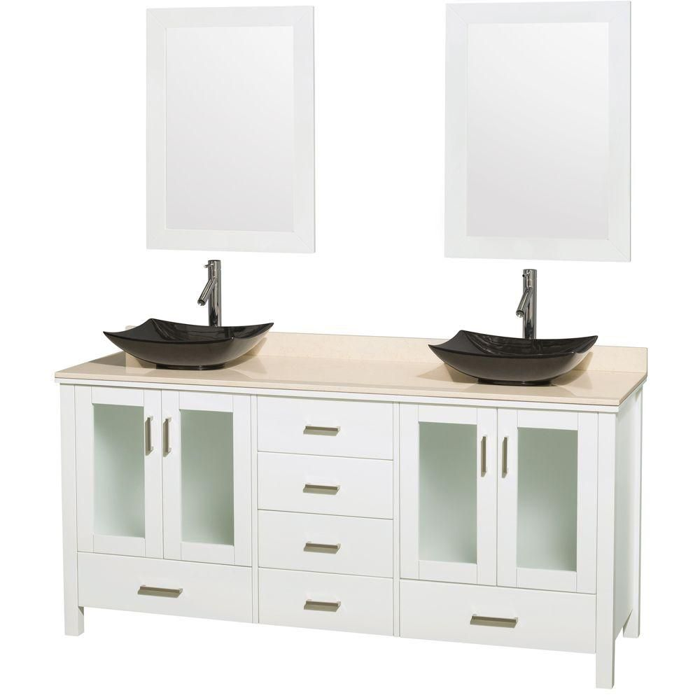Lucy Double Vanity in White with Marble Top, Granite Sinks and 24-inch Mirrors