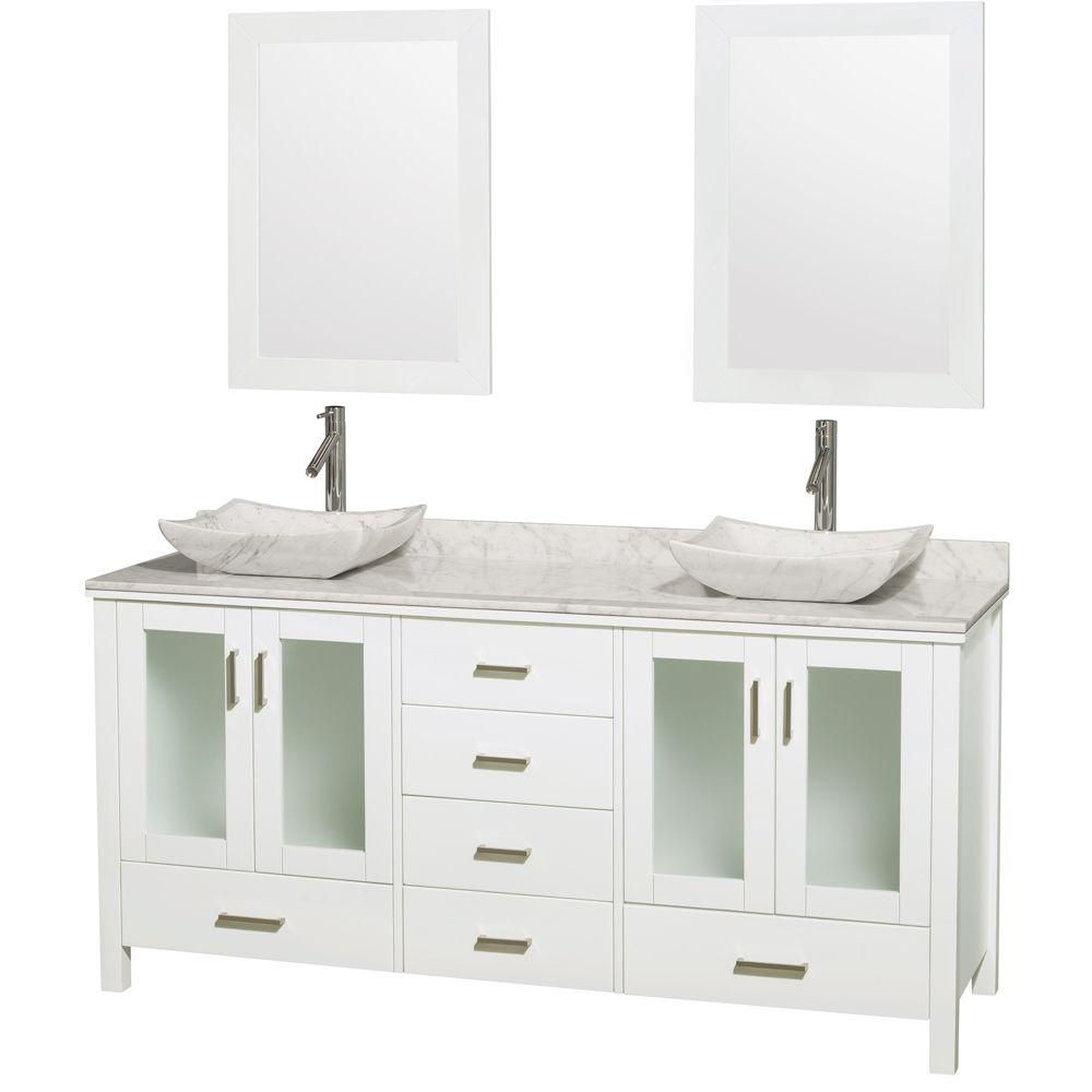 Wyndham Collection Lucy Double Vanity In White With Top In Carrara White Carrara Sinks And 24