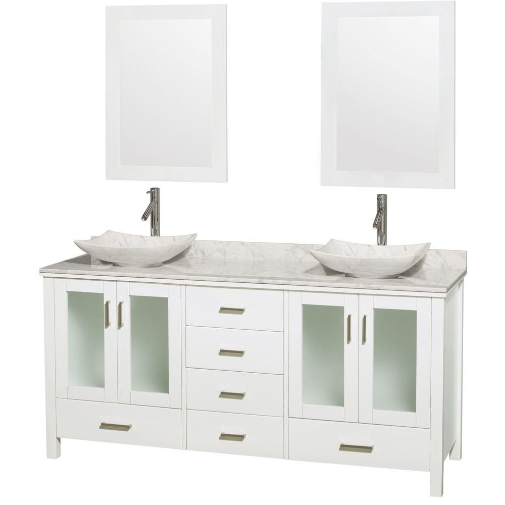 Lucy Double Vanity in White with Top in Carrara White, Carrara Sinks and 24-inch Mirrors