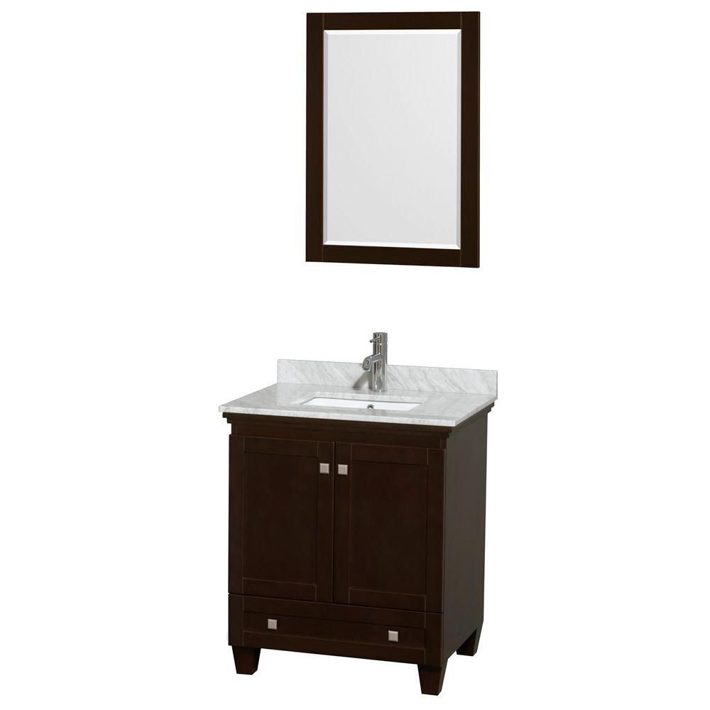 Acclaim 30 po. Meuble simple espresso, comptoir blanc Carrare, lavabo encastré, miroir 24 po