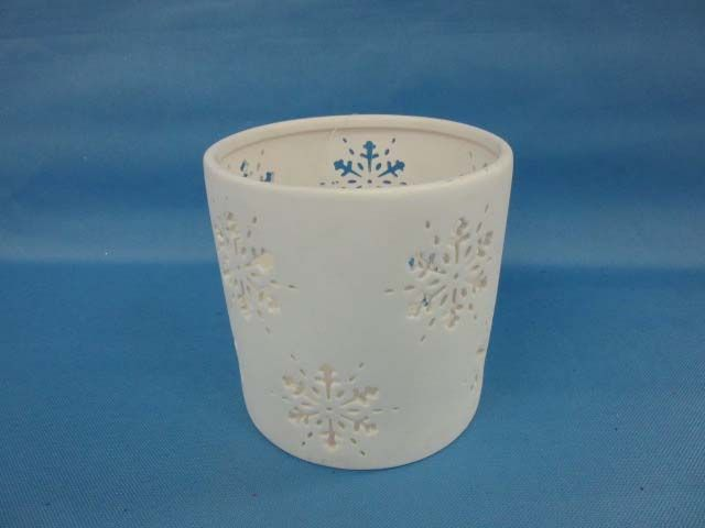 MSL Wht Small Snowflake Cand. Holder