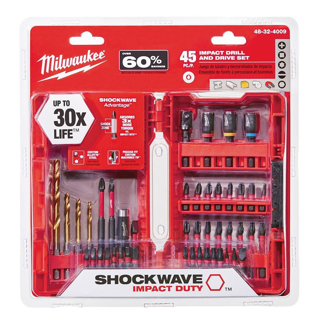 milwaukee tool milwaukee 45pc shockwave kit the home depot canada. Black Bedroom Furniture Sets. Home Design Ideas