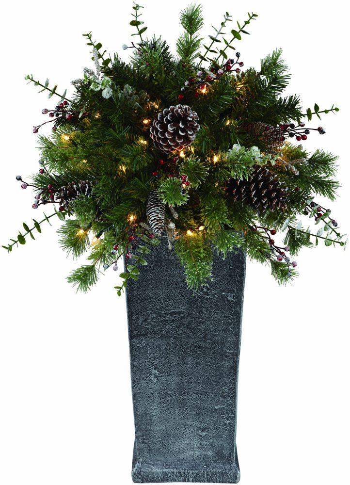 Arbre de Noël décoré avec 50 lumières intégrées, en pot, 0,90 m (3 pi)
