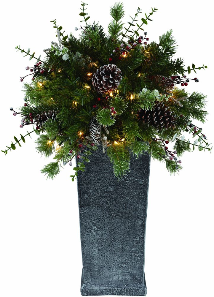 3 ft Pre-Lit Decorated Potted Christmas Tree - 50 Lights