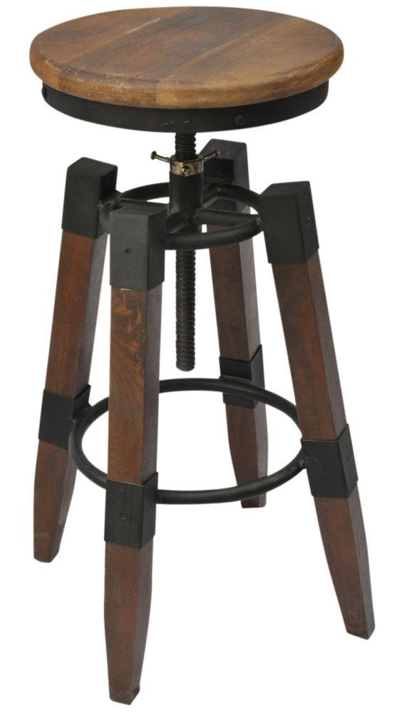 Renfrew-Adjustable Stool-Natural Mango Wood