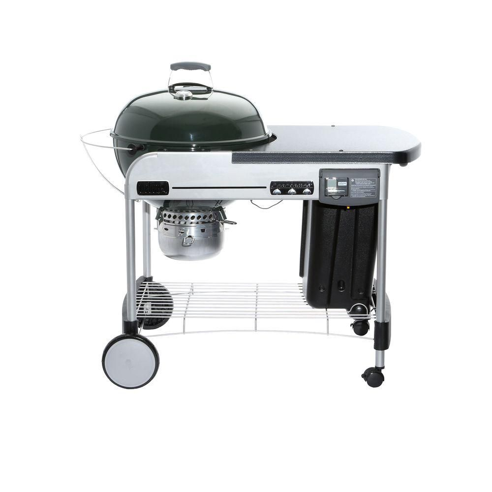 Weber performer deluxe 22 inch charcoal bbq in green with for Weber performer deluxe