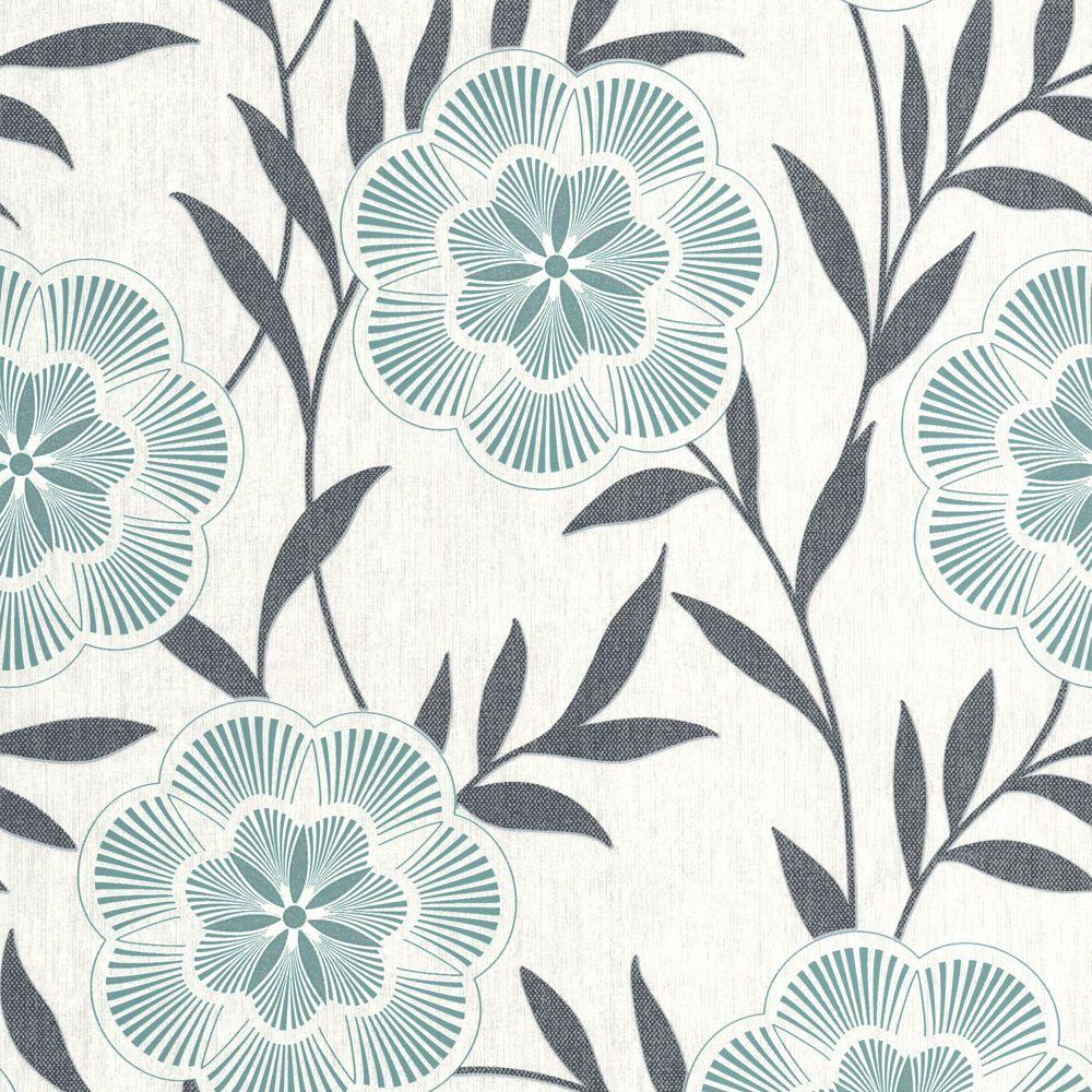Flora Teal/Grey/Cream Wallpaper