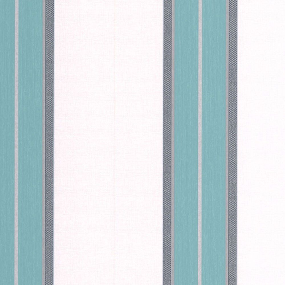 Harlow Stripe Teal/Grey/Cream Wallpaper