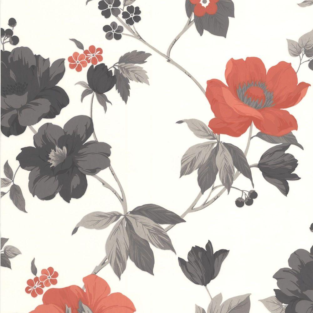 Eden Orange/Grey/Cream Wallpaper