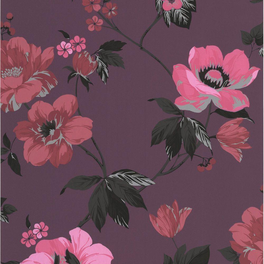 Eden Purple/Pink/Red/Black Wallpaper
