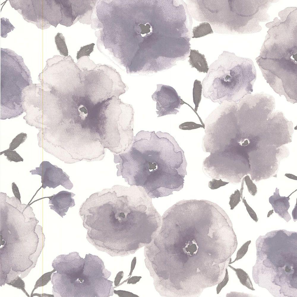 Poppies Lavender/Grey/Cream Wallpaper