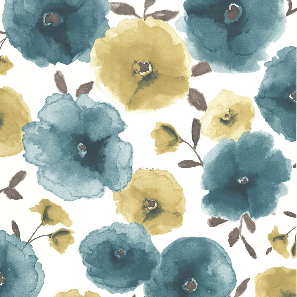 Poppies Teal Wallpaper 32-429L in Canada