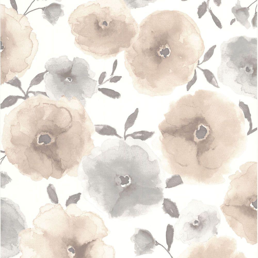 Poppies Beige/Grey/Cream Wallpaper