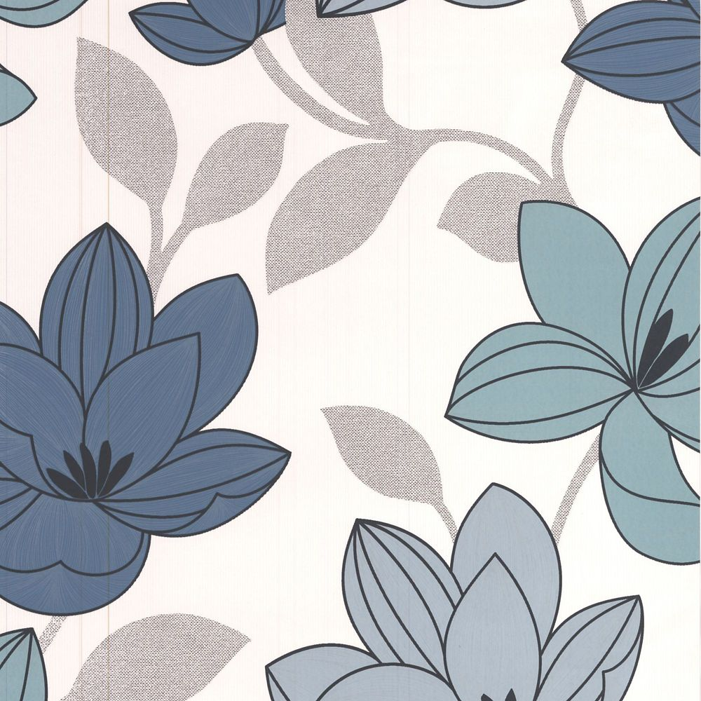 Superflora Blue/Teal/Black/White Wallpaper
