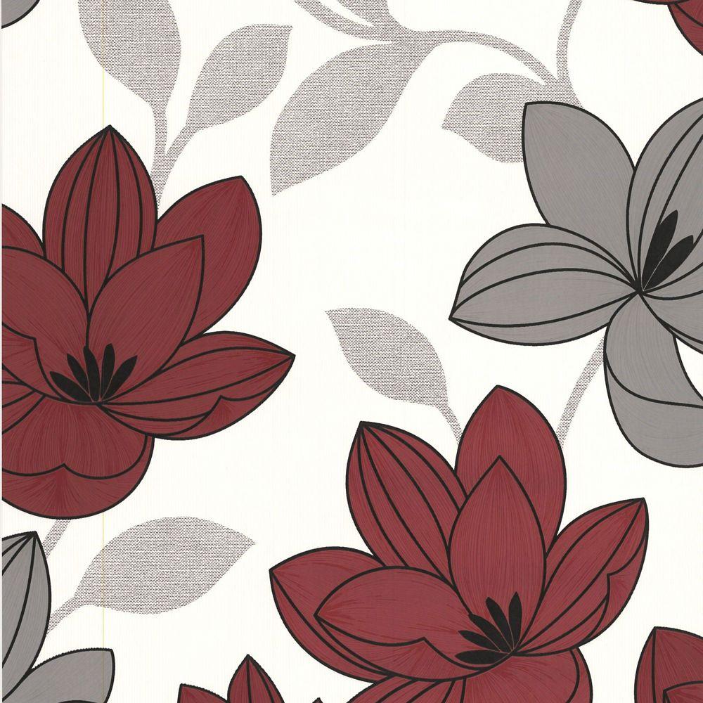 Superflora Papier Peint Rouge