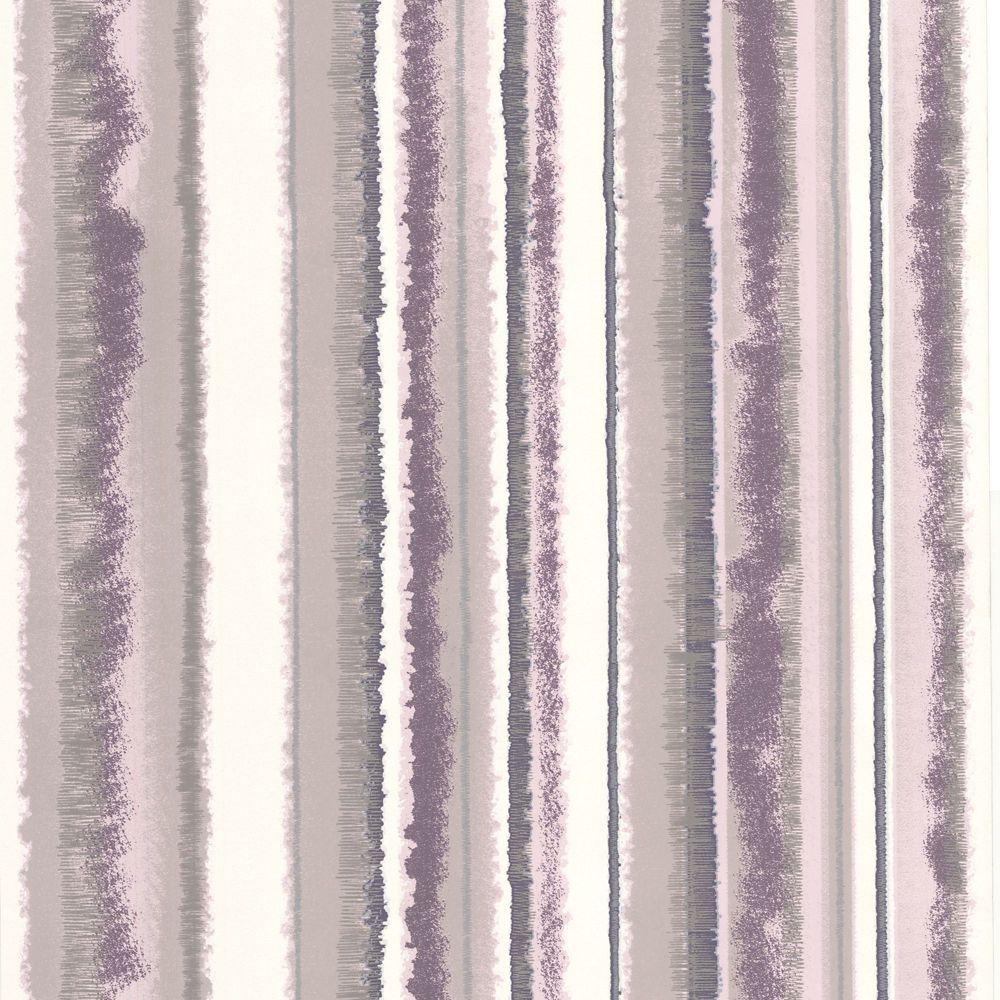 Romany Stripe Purple/Beige/White Wallpaper