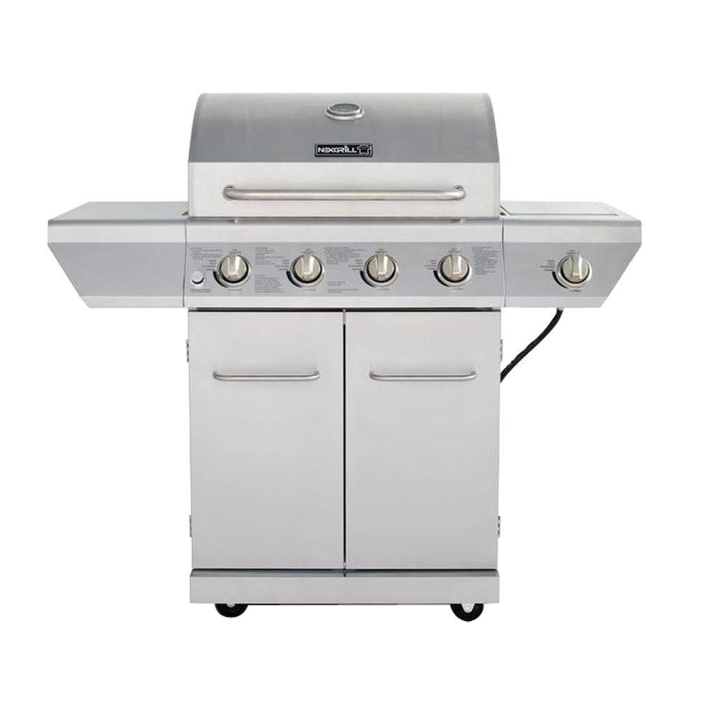 NexGrill 4-Burner Propane BBQ in Stainless Steel with Side Burner