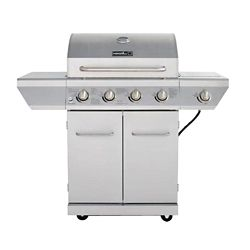 NexGrill 4-Burner Propane BBQ in Stainless Steel with Side Burner and Stainless Steel Doors